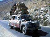 Bus on road in Afghanistan