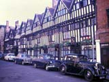 Cars parked near Shakespeare's home, Stratford-on-Avon, England