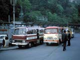 Buses at bus stop in Hakone, Japan