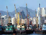 Junks in Hong Kong harbor