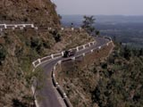 Truck on mountain road in India