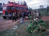 Bus stopped on road in Uganda