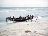 Rowboat on coast in Africa