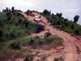 Car on dirt road in Uganda