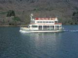 Pleasure boat on Lake Ashi in Hakone, Japan