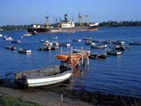 Ship and rowboats in harbor, Dar es Salaam, Tanzania