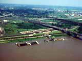 Bridge and barge terminal  on the Mississippi river in East St. Louis, Illinois