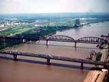 Aerial view of bridges crossing the Mississippi River in East St. Louis, Illinois
