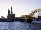 The Hohenzollern bridge and boats on the Rhine River, Cologne, Germany