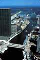 Aerial view of Chicago River entrance from Lake Michigan, Chicago, Illinois