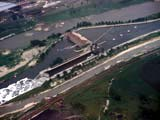 Aerial view of lock and dam on Des Plaines River in Lockport, Illinois