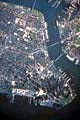 Aerial view of Lower Manhattan, with Manhattan and  Brooklyn Bridges, New York, New York