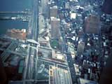 Aerial view of waterfront in New York, New York