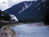 Freight train in canyon near Field, Canada