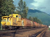 Grain train caboose in Revelstoke, Canada