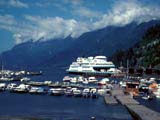 Boats and ferry in bay, West Vancouver, Canada