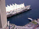 View of Canada Place in Burrard Inlet, Vancouver, Canada