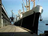 Cargo ship in loading dock, Vancouver, Canada