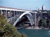 Rainbow Bridge crossing Niagara River in Niagara Falls, New York
