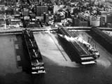 Loading docks on Hudson River in New York, New York