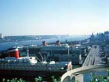 Ocean liners docked in New York, New York