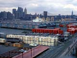 View of cargo boats in Port Authority Brooklyn loading dock in New York, New York