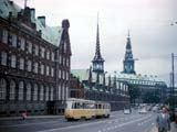 Streetcar on street in Copenhagen, Denmark