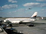 DC-8 airplane in airport, Chicago, Illinois