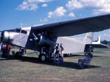 Tri-motor airplane at rest in Oshkosh, Wisconsin