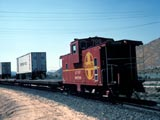 Train carrying truck trailers, Cajon Pass, California