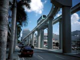 People-mover on elevated tracks in Miami, Florida