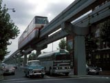 Elevated monorail above street traffic in Seattle, Washington