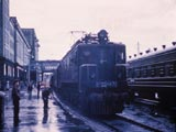 Passenger trains in station, Novosibirsk, Russia