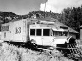 Truck-powered train in Ophir, Colorado