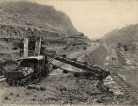 Excavators on railroads at the construction site of the Panama Canal