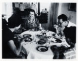 Golda Meir at home with family and friends