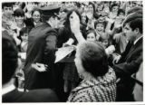 1969: Golda Meir waving to children at the Milwaukee airport