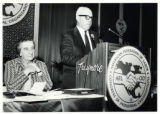 1969: Golda Meir listening to American Federation of Labor president George Meany in Atlantic City