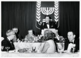1969: Golda Meir being introduced by  Governor Ronald Reagan in Los Angeles