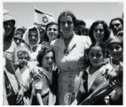 1950: Golda Meir and children of Kibbutz Shefayim