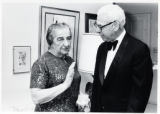 1973: Golda Meir with Arthur Goldberg at Ambassador Rabin's residence