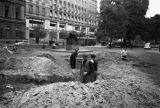 Warsaw bombing in September 1939, civilians digging trenches at the Małachowski square