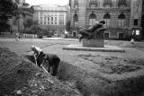 Warsaw bombing in September 1939, civilians digging trenches in front of the Zachęta Gallery...