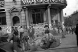 Warsaw bombing in September 1939, making sandbags  for air raid defense