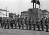 Warsaw August 1939, Polish officers by the statue of Prince Józef Poniatowski at the Piłsudski...