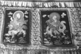 Close-up of Tibetan silk thangkas or tungkahs