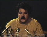 News film clip of Roberto Hernandez announcing the creation of the Spanish Speaking Outreach...