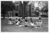 Circle of students outside Johnston Hall
