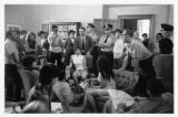 John Solon speaks to Hispanic students during demonstration of 1970