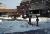 Students walking on Ernest Spaights Plaza